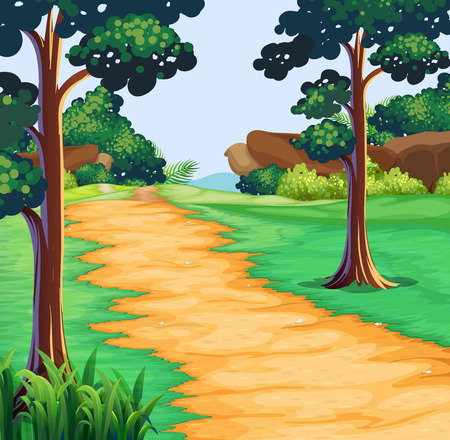 Nature scene with tree along the trail illustration Illustration
