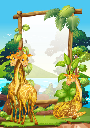 framed picture: Border design with three giraffes in the park illustration