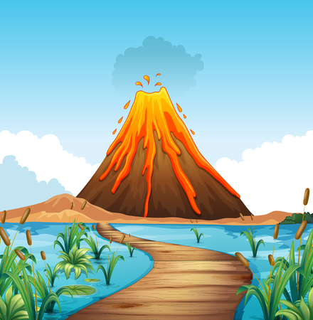 Escena de la naturaleza con la erupción del volcán por la ilustración lago Ilustración de vector