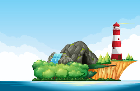 waterfall in forest: Nature scene with lighthouse and cave on the island illustration Illustration