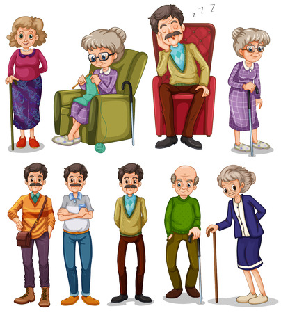 Old men and women in different actions illustration