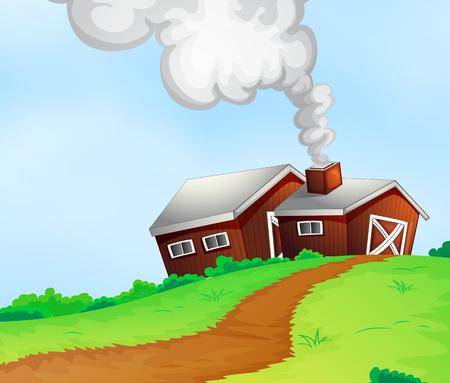 farmhouses: Farmhouses on the hill illustration
