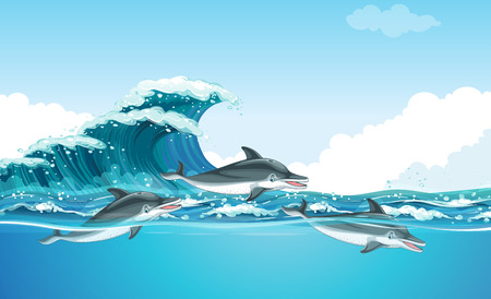 carnivorous: Dolphins swimming under the ocean illustration