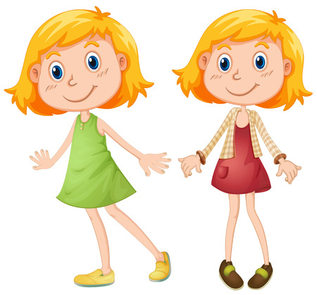 sisters: Blond girl in two costumes illustration