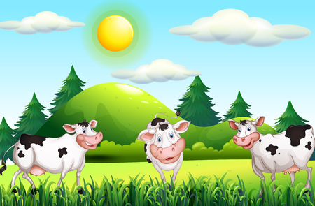 thee: Thee cows standing in the farmyard illustration