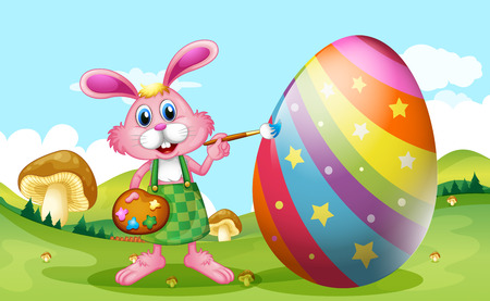 Happy Easter with bunny painting egg illustration