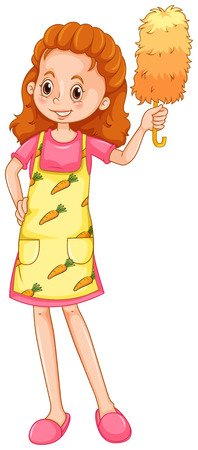 duster: Woman with apron and duster illustration Illustration