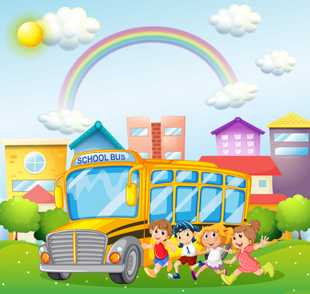 children art: Children and school bus in the park illustration
