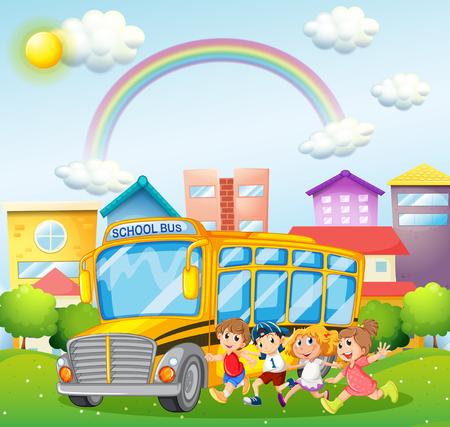 transporte escolar: Niños y autobús escolar en la ilustración parque Vectores