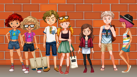 woman close up: Hipster boys and girls hanging out on the street illustration