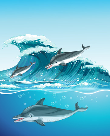 beach scene: Three dolphins swimming in the ocean illustration