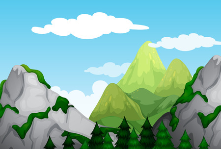 daytime: Nature scene with mountains at daytime illustration