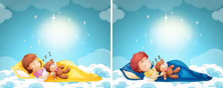 teddybear: Boy and girl sleeping in bed illustration Illustration