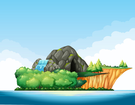 forest landscape: Nature scene with cave and waterfall on the island illustration