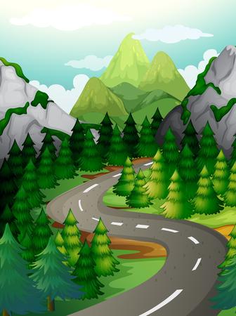 Scena con alberi di pino lungo la superstrada illustrazione