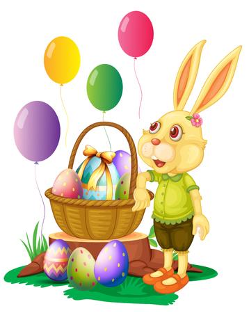 log basket: Easter bunny and basket of eggs illustration Illustration