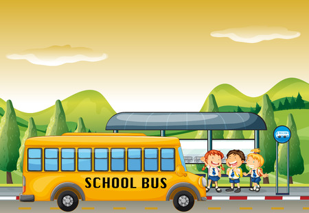 school boys: Children getting on school bus at bus stop illustration