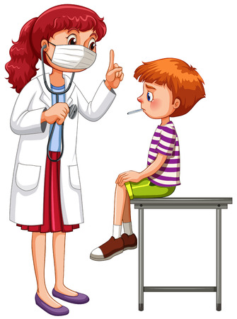 stethoscope boy: Doctor examining little sick boy illustration
