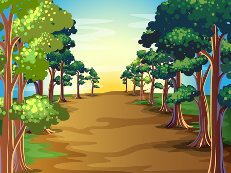 landscape: Nature scene with trees along the road illustration Illustration