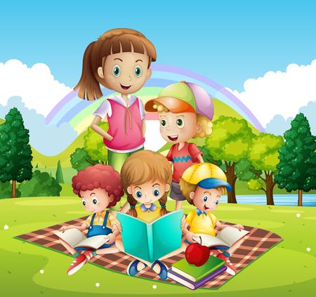 children clipart: Children reading books in the park illustration Illustration