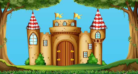 fantacy: Castle towers in the field illustration