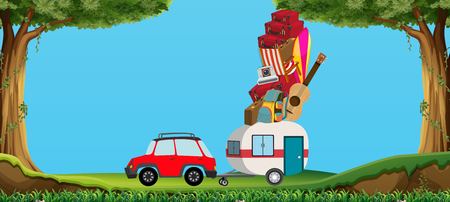 camping: Car and wagon full of luggages illustration Illustration