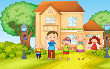 family outside house: Family living in the house illustration