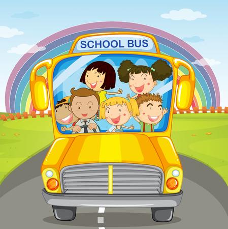 school illustration: Children riding in the school bus illustration Illustration