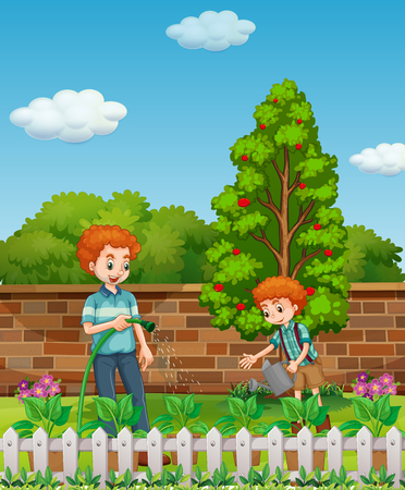 garden hose: Father and son watering plants in the garden illustration