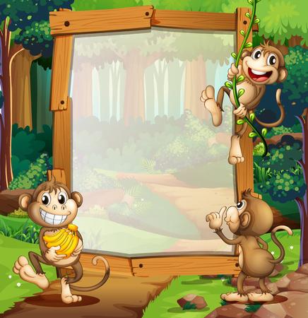 animales safari: diseño de la frontera con tres monos en la selva ilustración Vectores