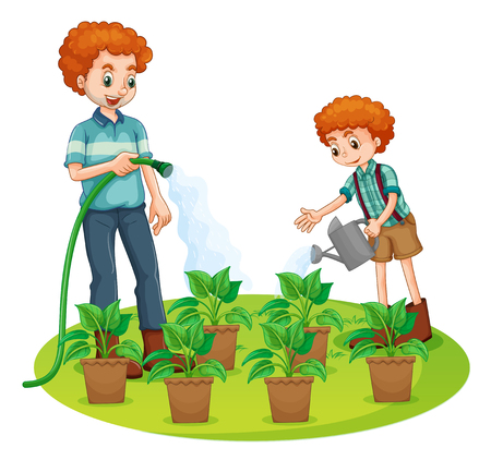 family gardening: Father and son watering the plants illustration