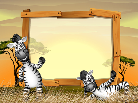 animal border: Border design with two zebras in the field illustration