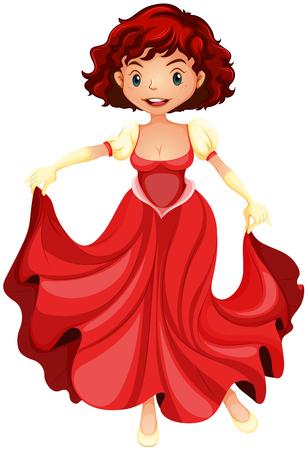 red dress: Beautiful girl in red dress illustration Illustration