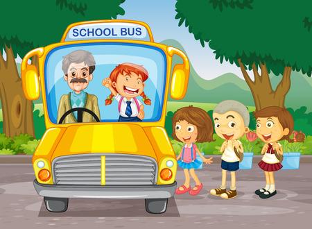 niños: Los niños que consiguen en el autobús escolar ilustración
