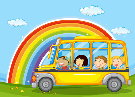 school boys: Boys and girls riding in school bus illustration