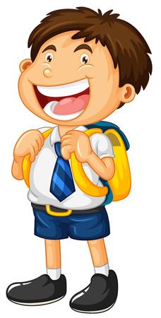 Happy boy in school uniform illustration