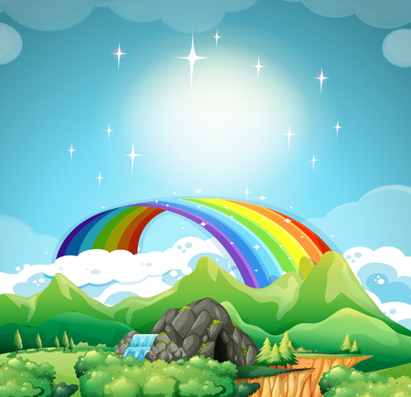 trees forest: Rainbow over the mountains  illustration
