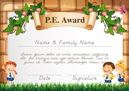 children school clip art: Certificate template for PE award illustration