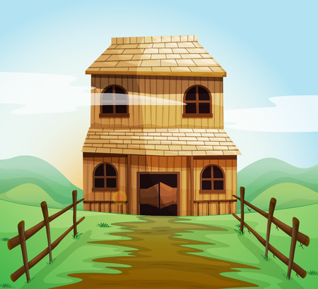 house illustration: Wooden house in the field illustration
