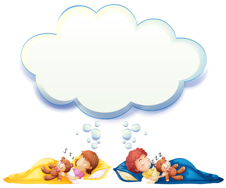 kid drawing: Boy and girl sleeping in bed illustration Illustration