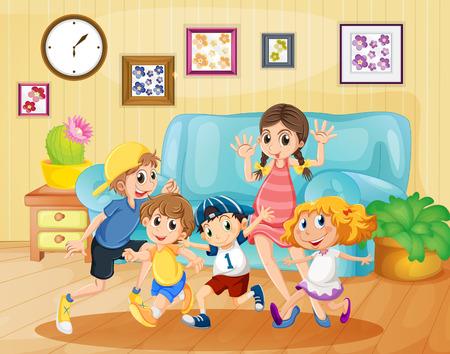 niñas jugando: Los niños que juegan en la ilustración de la sala de estar