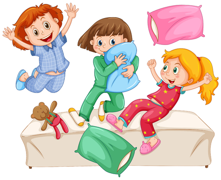 slumber: Three girls playing pillow fight at the slumber party illustration