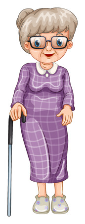 old picture: Old lady with walking stick illustration Illustration