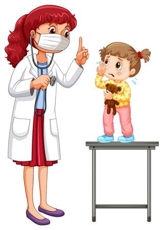 examining: Doctor examining little girl illustration