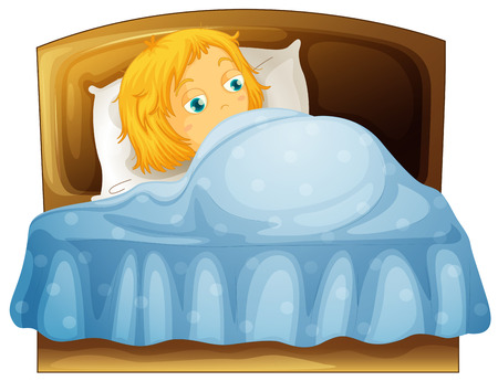 sleepy: Girl feeling sleepy in bed illustration Illustration