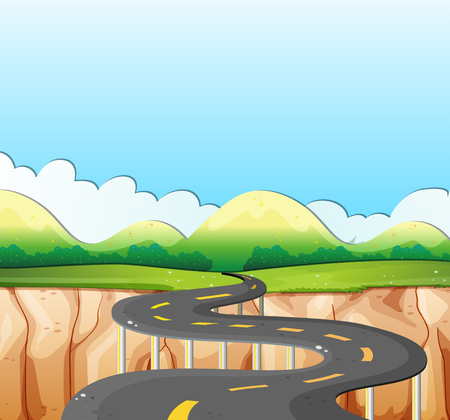 cliffs: Nature scene with road and field illustration Illustration