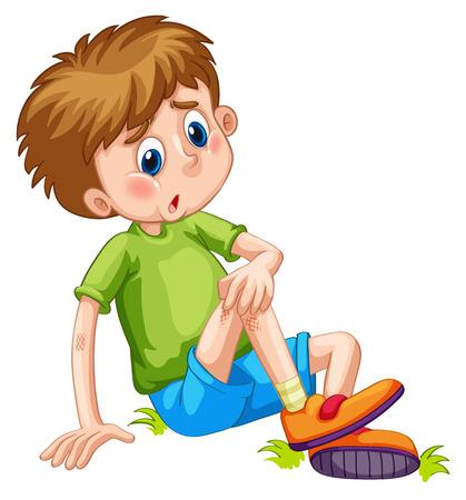 injuries: Boy having bruises on his leg illustration