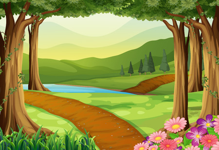 Nature scene with river and forest illustration 版權商用圖片 - 53493317