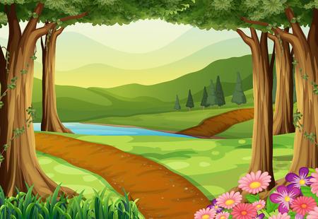Natuur scène met rivier en het bos illustratie