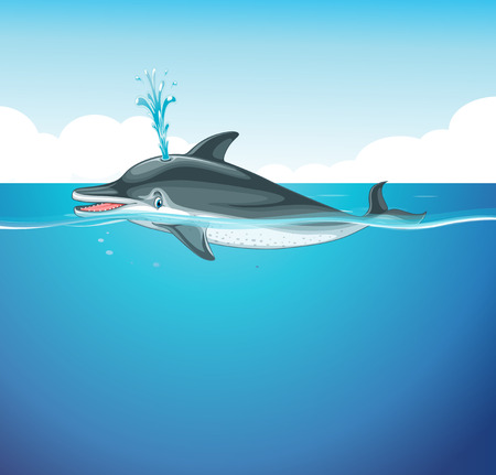 marine scene: Dolphin splashing water in the sea illustration